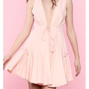Essue Pink Sleeveless Deep V Mini Dress | Medium